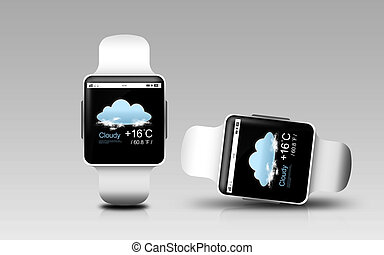 smart watches with weather forecast on screen - modern...