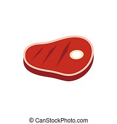 Meat steak icon in flat style on a white background