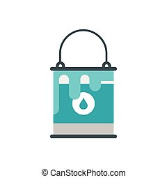 Bucket with blue paint icon, flat style