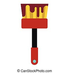 Paint brush with red paint icon, flat style