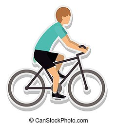 person figure athlete bike ride sport icon vector...