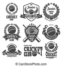 Cricket Club Emblems - Set of Emblems, Logos and Labels on...