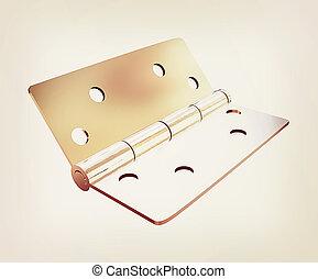 assembly metal hinges. 3D illustration. Vintage style.