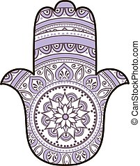 violet white hamsa - drawing of a Hand of Fatima Hamsa in...