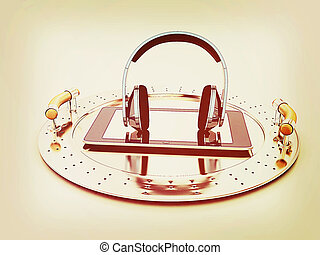 Phone and headphones on metal tray 3D illustration Vintage...