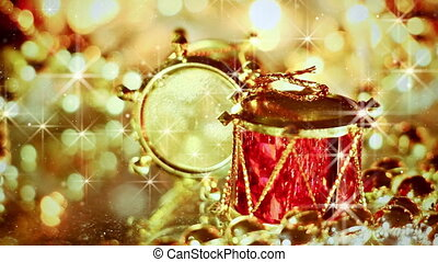 drum christmas decoration and stars seamless loop