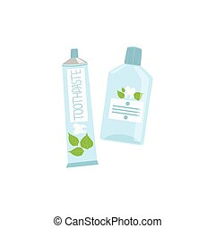 Tube Of Toothpaste And Mouthwash Simple Design Illustration...