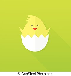 flat paper Easter chick