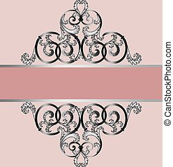 Invitation card with classic silver royal ornament. Pale...
