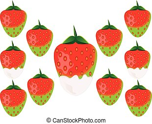 Delicious green strawberry in white chocolate. Vector