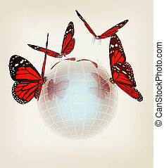 Red butterfly on abstract 3d sphere with blue mosaic design . 3D illustration. Vintage style.