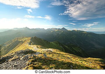 Tatra Mountains during sunrise - Peaks in Tatra Mountains on...