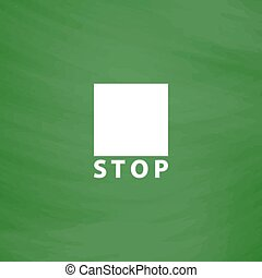 Stop button vector icon. Flat design style - Stop button....
