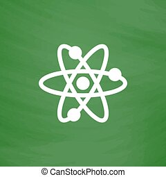 Vector atom icon - Atom. Flat Icon. Imitation draw with...
