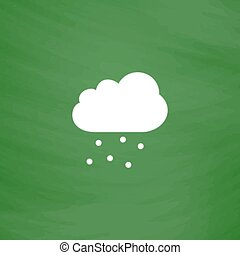 Cloud with hail Flat Icon Imitation draw with white chalk on...