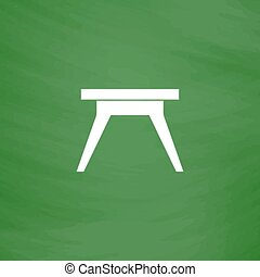 Small table icon, sign and button - Small table. Flat Icon....