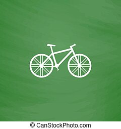 Bicycle flat icon - Bicycle. Flat Icon. Imitation draw with...