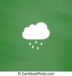 Cloud with rain weather vector icon - Cloud with rain. Flat...