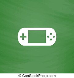 Handheld game console. Flat Icon. Imitation draw with white...