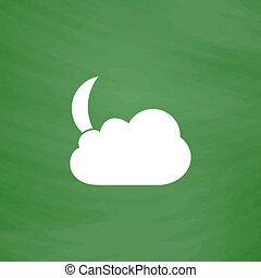 Moon and clouds, 10eps - Moon and clouds Flat Icon Imitation...