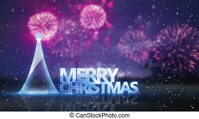 merry christmas text and fireworks on background loop -...
