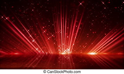 red light beams and shimmering particles loopable background...