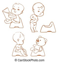 Potty training. Babies in toilet. Sketch. - Set of cute...