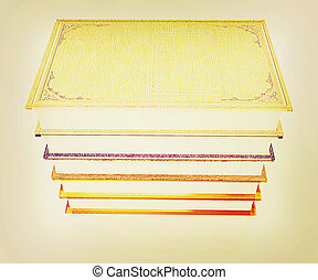 The stack of books 3D illustration Vintage style - The stack...