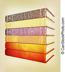 The stack of books. 3D illustration. Vintage style. - The...