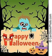 Halloween card with Zombie