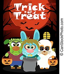 Halloween background with animal trick or treating in...