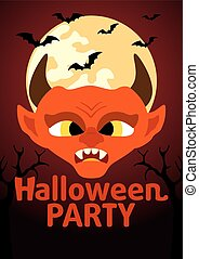 Halloween Party banner with Devil