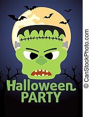 Halloween banner with Frankenstein