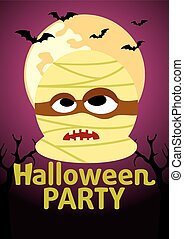 Halloween Party banner with Mummy