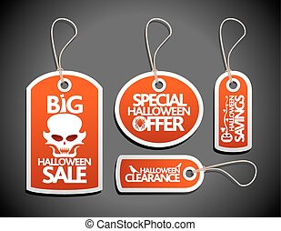 Sale Halloween Tags Set red