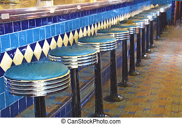 retro diner bar stools - Row of bar stools in retro diner...