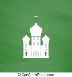 Vector church icon - Church. Flat Icon. Imitation draw with...