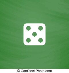 One dices - side with 5. Flat Icon. Imitation draw with...