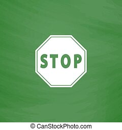 Vector illustration of Stop sign - Stop Flat Icon Imitation...