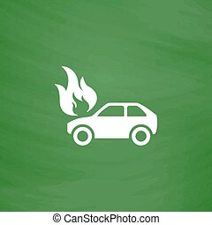 Car fire icon - Car fire Flat Icon Imitation draw with white...