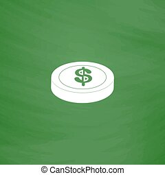 casino chip isolated - Casino chip Flat Icon Imitation draw...