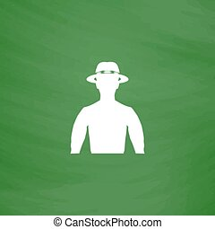 man with broad-brim - Man with broad-brim. Flat Icon....