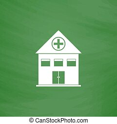 Hospital flat icon - Hospital Flat Icon Imitation draw with...