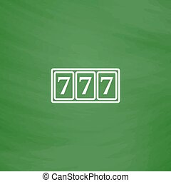 Simple icon 777. - Fortune 777. Flat Icon. Imitation draw...