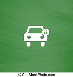 car lock icon - Car lock Flat Icon Imitation draw with white...