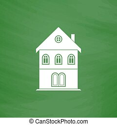 house flat icon - Simple old house Flat Icon Imitation draw...