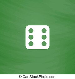 One dices - side with 6. Flat Icon. Imitation draw with...