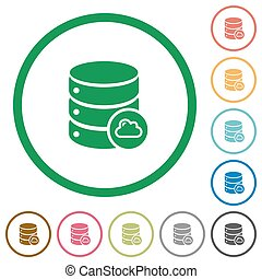 Cloud database outlined flat icons - Set of cloud database...