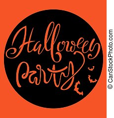 Happy Halloween handwritten lettering composition with bats silhouette. Celebration october vector illustration with moon.