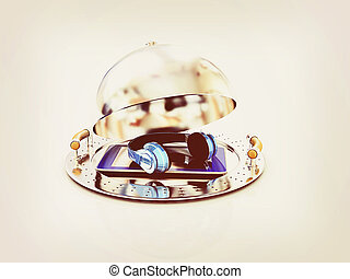 Phone and headphones on glossy salver dish under a cover 3D...